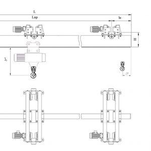 Кран мостовой подвесной двухпролетный электрический ЭЛЕКТРОТЯЖКРАН - миниатюра фото 3