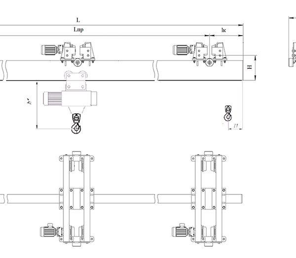 Кран мостовой подвесной двухпролетный электрический ЭЛЕКТРОТЯЖКРАН - 2