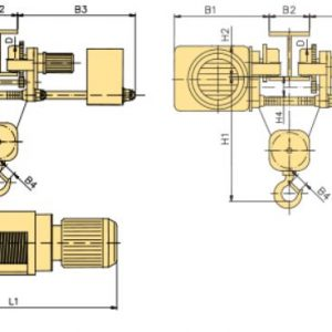 Таль электрическая канатная передвижная с тележкой и пониженной строительной высотой YANTRA - миниатюра фото 4