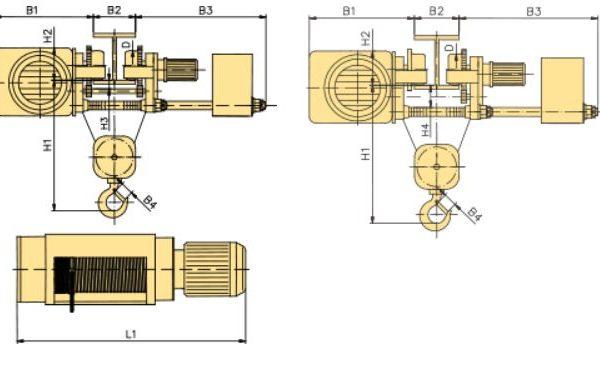 Таль электрическая канатная передвижная с тележкой и пониженной строительной высотой YANTRA - 3
