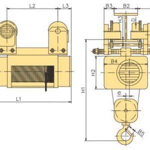 Таль электрическая канатная передвижная с тележкой YANTRA - миниатюра фото 4