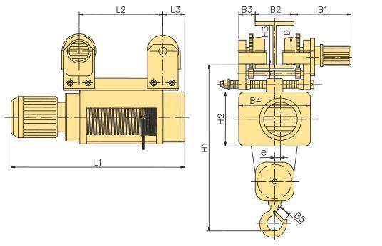 Таль электрическая канатная передвижная с тележкой YANTRA - 3