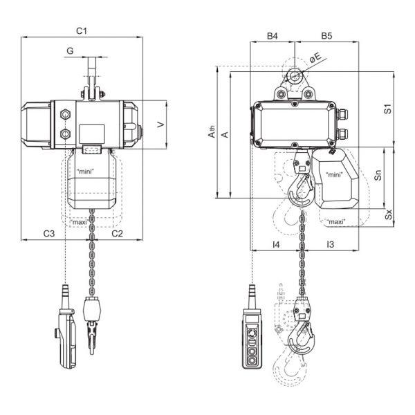 Таль электрическая цепная передвижная PODEM CLF/CLW (Подемкран) - 2