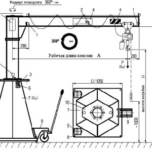 Кран консольный передвижной на колонне свободностоящий поворотный с ручным приводом - миниатюра фото 3