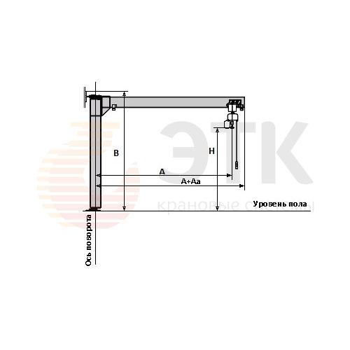 Кран консольный специальный стационарный с горизонтальной нижней и вертикальной верхней опорами