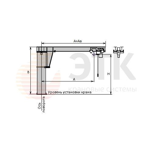 Кран консольный специальный стационарный с максимальной высотой подъема с механическим приводом