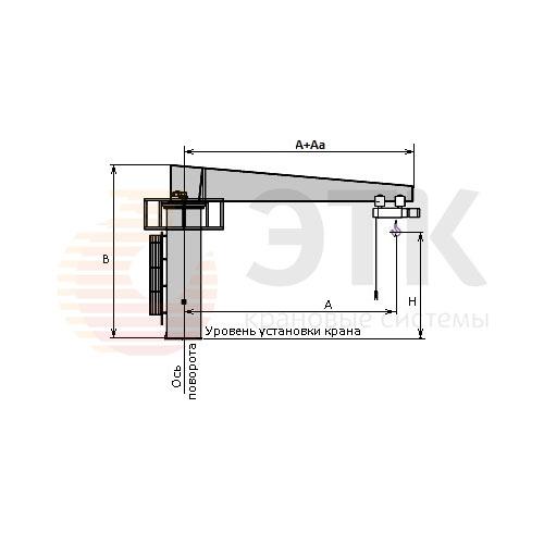 Кран консольный стационарный специальный с площадкой для обслуживания и механическим приводом