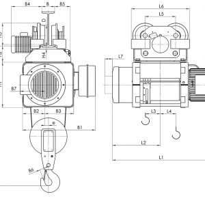 Чертеж - Таль электрическая канатная передвижная Балканское Эхо МТ