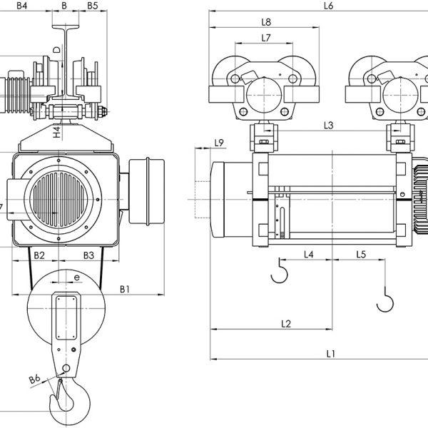 Таль электрическая канатная передвижная Балканское Эхо МТ ED двухрельсовая - 2