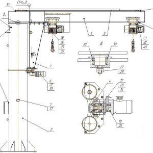Кран консольный электрический стационарный на колонне СВПК ККМ - миниатюра фото 4