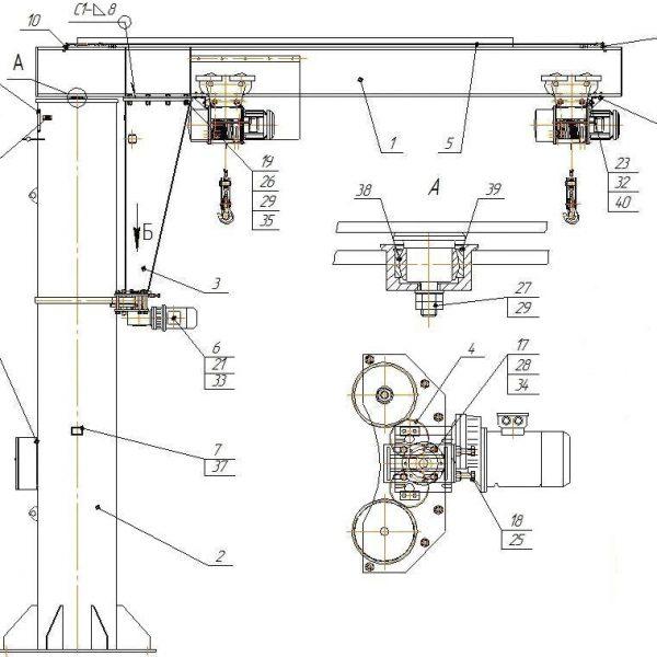 Кран консольный электрический стационарный на колонне СВПК ККМ - 3