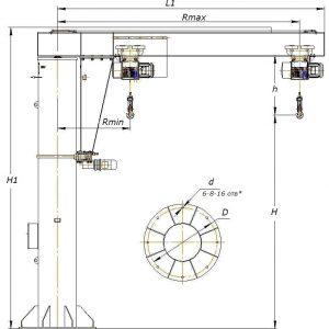 Кран консольный электрический стационарный на колонне СВПК ККМ - миниатюра фото 3