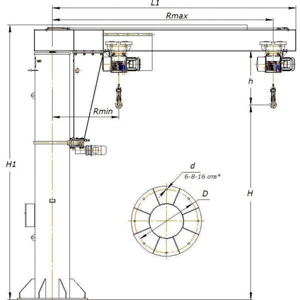 Кран консольный электрический стационарный на колонне СВПК ККМ - 2