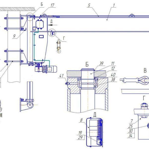 Кран консольный электрический стационарный настенный СВПК ККМ - 3