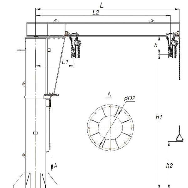 Кран консольный ручной стационарный на колонне СВПК ККР - 3
