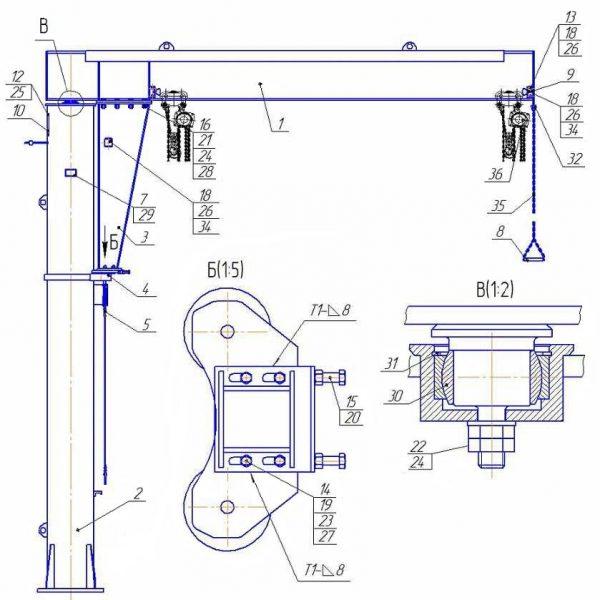 Кран консольный ручной стационарный на колонне СВПК ККР - 2