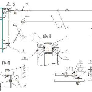 Кран консольный ручной стационарный настенный СВПК ККР - миниатюра фото 4