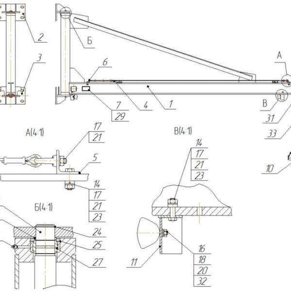 Кран консольный ручной стационарный настенный СВПК ККР - 2