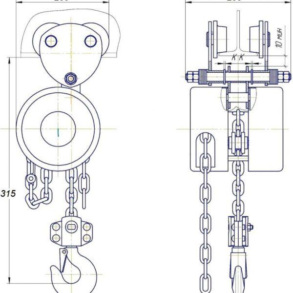 Таль ручная цепная передвижная шестеренная СВПК ТРШАК - 2
