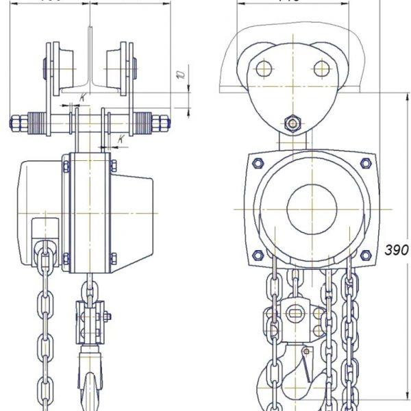 Таль ручная цепная передвижная шестеренная СВПК ТРШАМ - 2