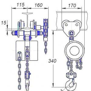 Таль ручная цепная передвижная шестеренная СВПК ТРШБК - миниатюра фото 3