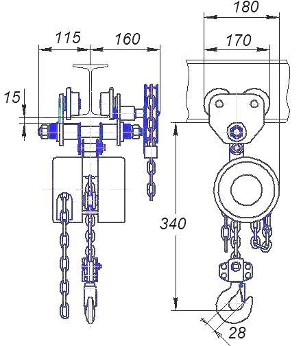 Таль ручная цепная передвижная шестеренная СВПК ТРШБК - 2