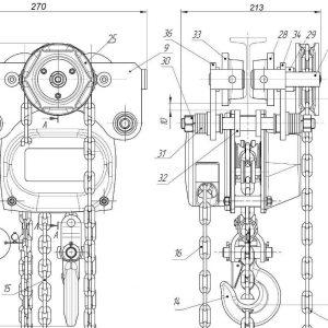 Таль ручная цепная передвижная шестеренная СВПК ТРШБМУ - миниатюра фото 3