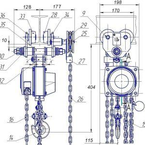 Таль ручная цепная передвижная шестеренная СВПК ТРШБп - миниатюра фото 3