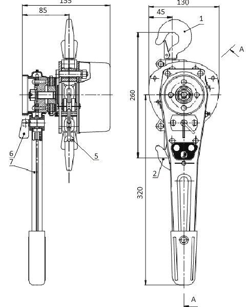 Таль ручная цепная рычажная шестеренная СВПК ТРШСРМ - 2