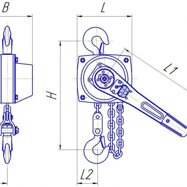 Таль ручная цепная рычажная шестеренная СВПК ТРШСРп - 2