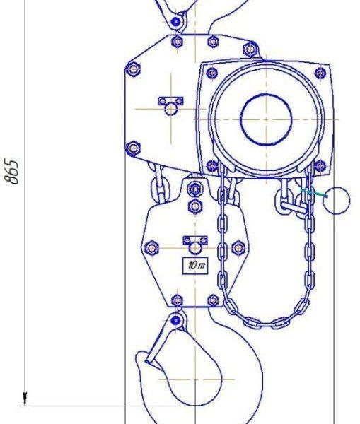 Таль ручная цепная стационарная шестеренная пожаробезопасная СВПК ТРШСп-Ex-10,0 - 2