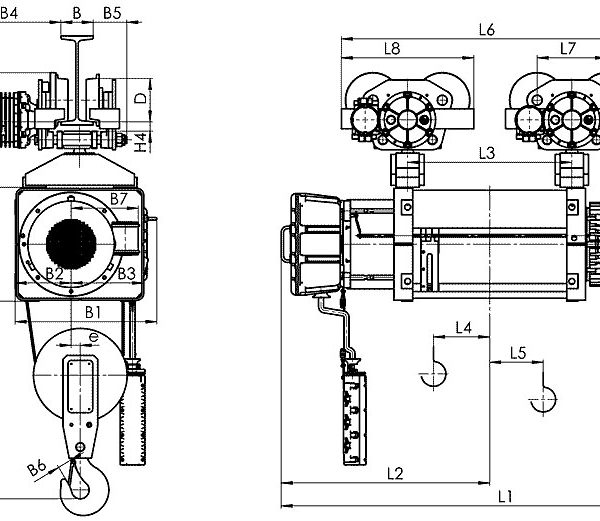 Таль электрическая канатная передвижная Балканское Эхо ВМТ ED двухрельсовая ВЗИ - 2