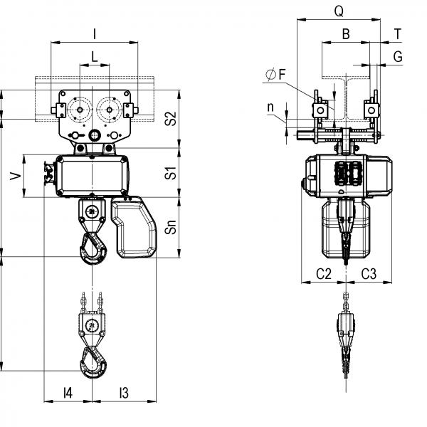 Таль электрическая цепная серии CLF Podem (Подем) - 2
